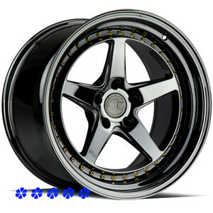 Aodhan Ds05 18 Pvd Black Staggered Rims Wheels 5x4 5 99 04 Ford Mustang Cobra Gt