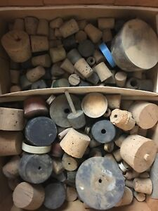 Antique Lot Chemistry Laboratory Glassware Equipment Bottle Stoppers Corks Lids