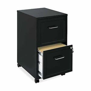 Lorell 2 Drawers Steel Vertical Lockable Filing Cabinet Black Letter