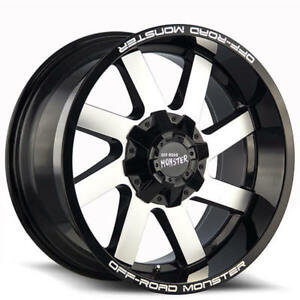 20x10 Off Road Monster Wheels M80 Gloss Black Machined Rims