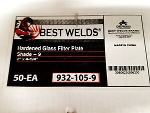 Box Of 50 Best Welds Hardened Glass Filter Plates Shade 9 2 X 4 1 4 nib