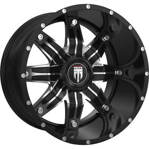 22x12 Black Machined Lone Star 8x6 5 44 Rims Country Hunter Mt 37 Tires