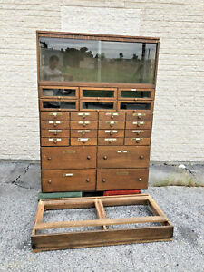 Vintage Industrial Wood Cabinet Antique Rustic File Apothecary Hardware Store 30