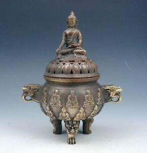 Vintage Brass Tripod Incense Burner Dragon Handles Buddha Lid Monster Legs