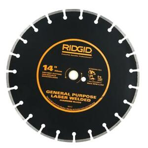 Ridgid 14 Diamond Saw Blade Dual Purpose Walk behind Concrete Cutting