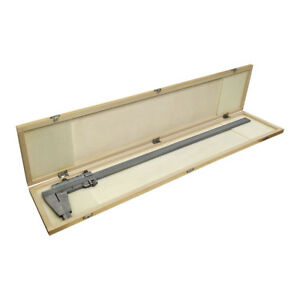 24 60cm 600mm Inch Metric Heavy Duty Vernier Caliper Ruler Wooden Case
