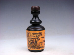 Bone Crafted Snuff Bottle Ancient Figurines Scenery Painted W Spoon 01191911