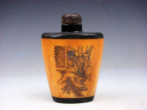 Bone Crafted Snuff Bottle Exotic Ancient Figurines Painted W Spoon 01191915