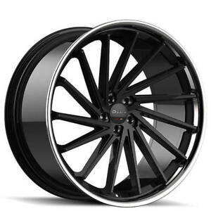 4 set 24 Giovanna Wheels Spira Ff Black With Chrome Lip Rims Fs