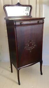 Antique Mahogany Music Cabinet With Beveled Mirror And Key