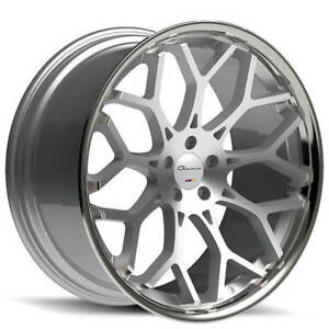4 set 24 Giovanna Wheels Nove Ff Diamond Cut Silver With Chrome Rims Fs