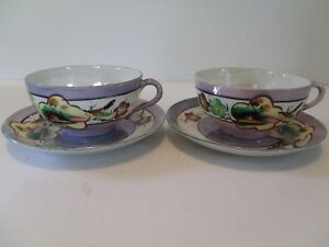 Set Of 2 Antique Moriage Handpainted Tea Cups Saucers Made In Japan