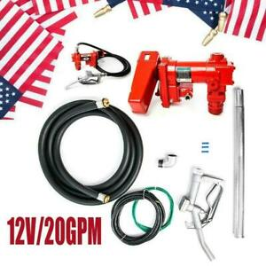 12v 20gpm Fuel Transfer Pump Diesel Gas Gasoline Kerosene Car Truck Tractor Red