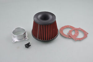 Universal Car 3 Inlet Aluminium Base High Flow Cold Air Intake Cone Filter Red