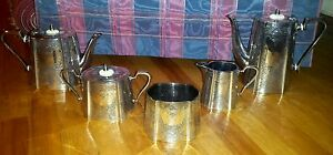 Epbm Antique Barker Brothers Hand Chased 5 Pc Tea Coffee Set Beautiful