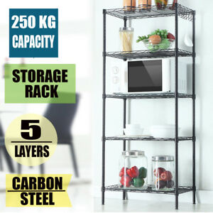 5 Tier Storage Rack Organizer Kitchen Shelving Steel Wire Shelves Metal Rack