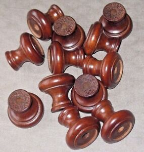 Lot Of 12 Vintage Round Wooden Dresser Drawer Pulls Cabinet Knobs Wood Handles