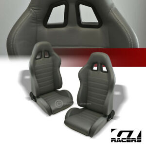 2 Universal Sp Gray Stitch Pvc Leather Reclinable Racing Bucket Seats Slider G01