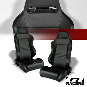 2x Universal Tr Blk Stitch Pvc Leather Reclinable Racing Bucket Seats Slider G01