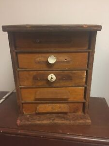 Antique Vtg 5 Drawer Wooden Machinist Work Chest Storage Tool Cabinet Primitive