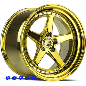 Aodhan Ds05 18 15 Pvd Gold Staggered Rims 5x114 3 Stance 5 Star Spokes Wheels