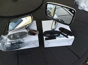 Mg Mgb Tex Style Door Mirrors Stainless Steel Complete With Fix Kits