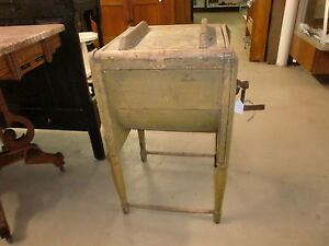 Butter Churn Wooden Hand Crank Primitive Old Paint