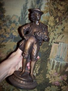 Antique Spelter Copper Metal Statue Welldressed Colonial Man 11 25 Clock Part