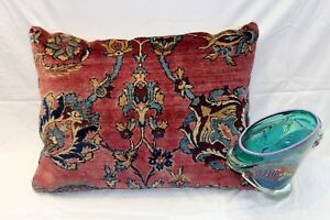A Large Antique Persian Pillow 22 X 28 Made Out Of Vintage Persian Kirman Rug