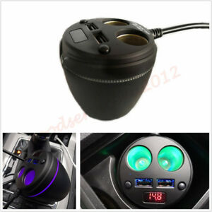Cup Multifunction Car Cigarette Lighter Splitter Usb Charger Led Voltage Display