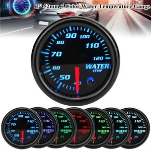 Universal 2 52mm 7 Color Led Car Water Coolant Temperature Temp Gauge Meter Us