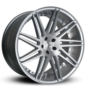 New 4 22 Staggered Road Force Wheels Rf11 Silver Brush Rims Fs