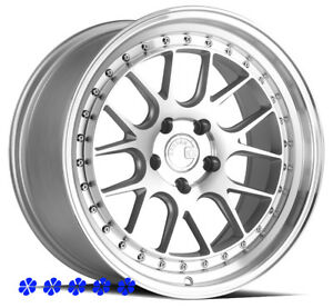 Aodhan Ds06 Silver Wheels 18 35 Staggered Rims 5x114 3 05 09 Ford Mustang Gt