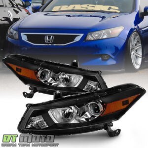 For 2008 2012 Honda Accord 2 door Coupe Black Headlights Headlamps Left right