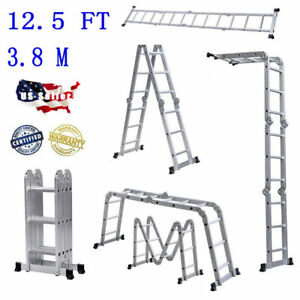 Folding 12 5ft Multi Purpose Telescopic Extension Ladder Aluminum Heavy Duty