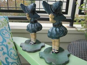 Antique Original National Foundry Sunbonnet Girl Cast Iron Art Bookends