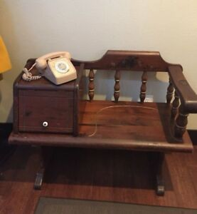 Vintage Antique Wood Gossip Phone Chair Bench 38 X 16 X 29 For Pick Up Only
