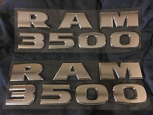 2005 2016 Dodge Ram 3500 Fender Door Emblems Lettering Set 2 Sides Chrome