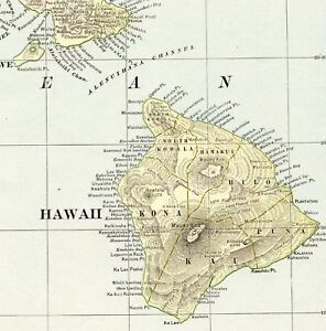 1901 Antique Hawaii State Map Vintage Map Of Hawaii Hawaiian Islands Map 6272