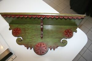 Vintage Wood Shelf Rustic Country Farmhouse Painted Pine Handmade