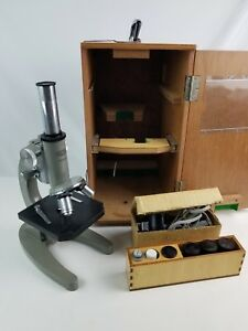 Olympus Hsc Lighted Microscope 10x 40x 100x W Wooden Case Key Working