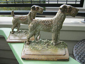 Antique Original Hubley Pair Cast Iron 294 Airdale Fox Terrier Dog Bookends