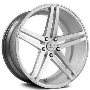 4pcs 22 Staggered Verde Wheels V39 Parallax Matte Silver Machined Rims