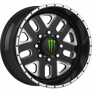 20x10 Black Monster Energy 539bm Wheels 5x5 25 Lifted Jeep Wrangler Sahara