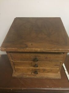 Antique Vtg 3 Drawer Wooden Machinist Work Chest Storage Tool Cabinet Primitive
