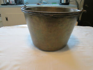 Antique American Brass Kettle Manufacturers No 2 Bucket W Handle 1893 1922