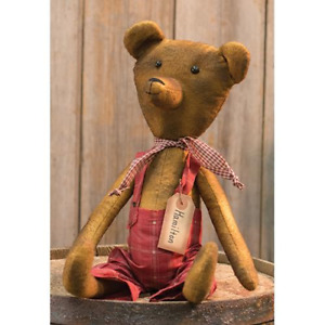 New Primitive Grungy Antique Style Red Overalls Hamilton Teddy Bear Doll 17
