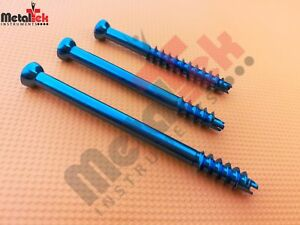 Cannulated Screw 6 5mm Short Threaded Titanium self Tapping Self Drilling 35 Pcs