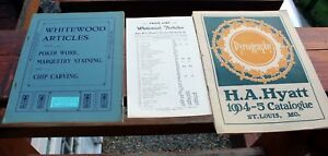2 Antique Over 100 Year Old Pyrography Wood Burning Catalogues Lot
