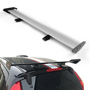 Universal Hatch Adjustable Aluminum Gt Rear Trunk Wing Racing Spoiler Silver 13